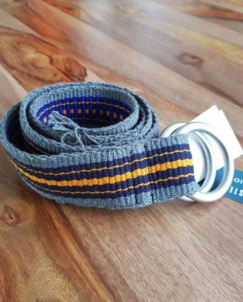 ceinture tissée main Wayuu bleu gris jaune