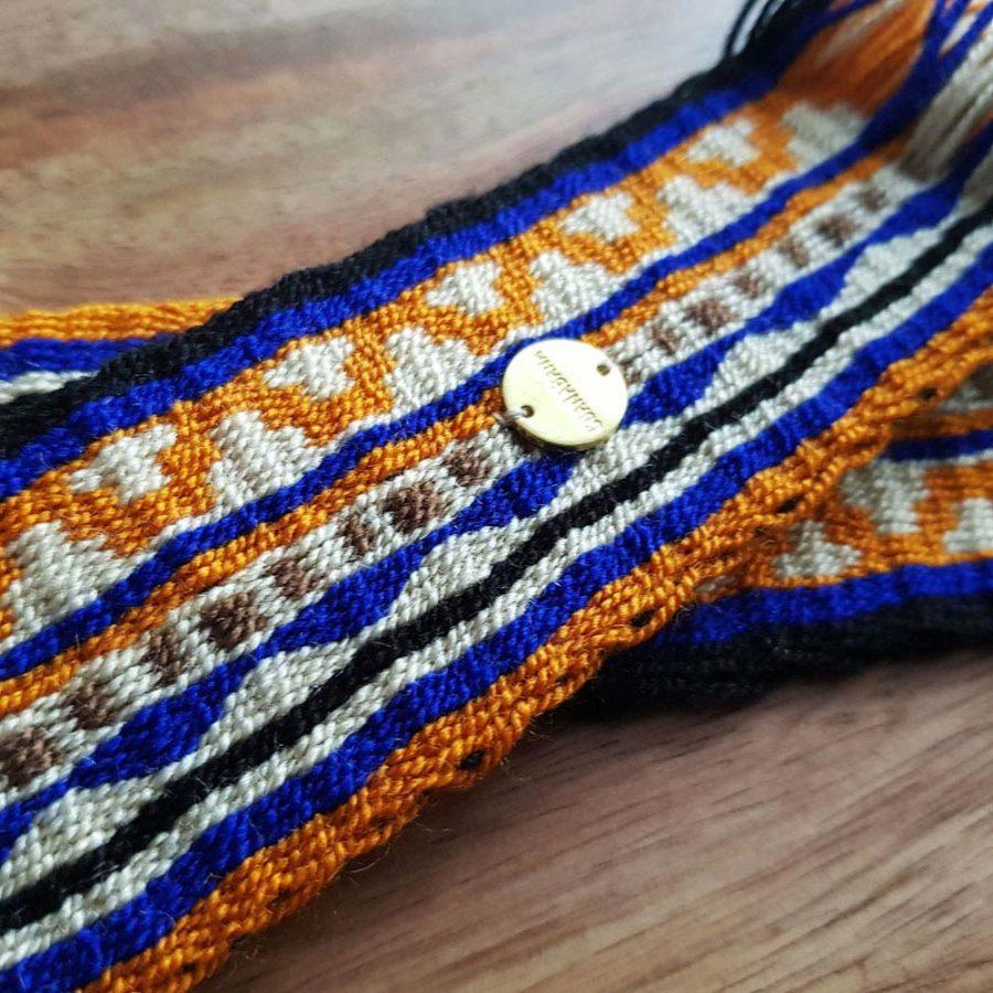 ceinture tissée main Wayuu bleu et jaune