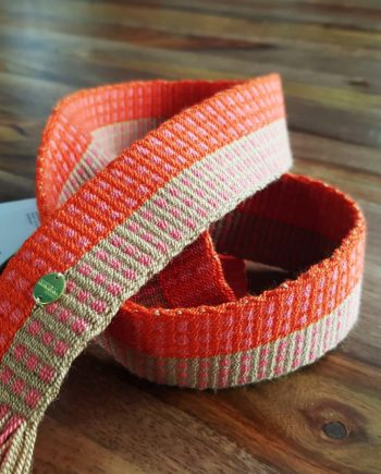 ceinture tissée main Wayuu orange et rose
