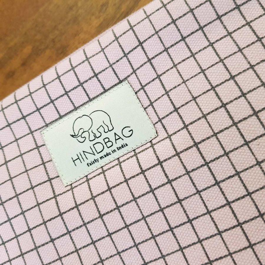 housse d'ordinateur rose pastel à carreaux hinbag