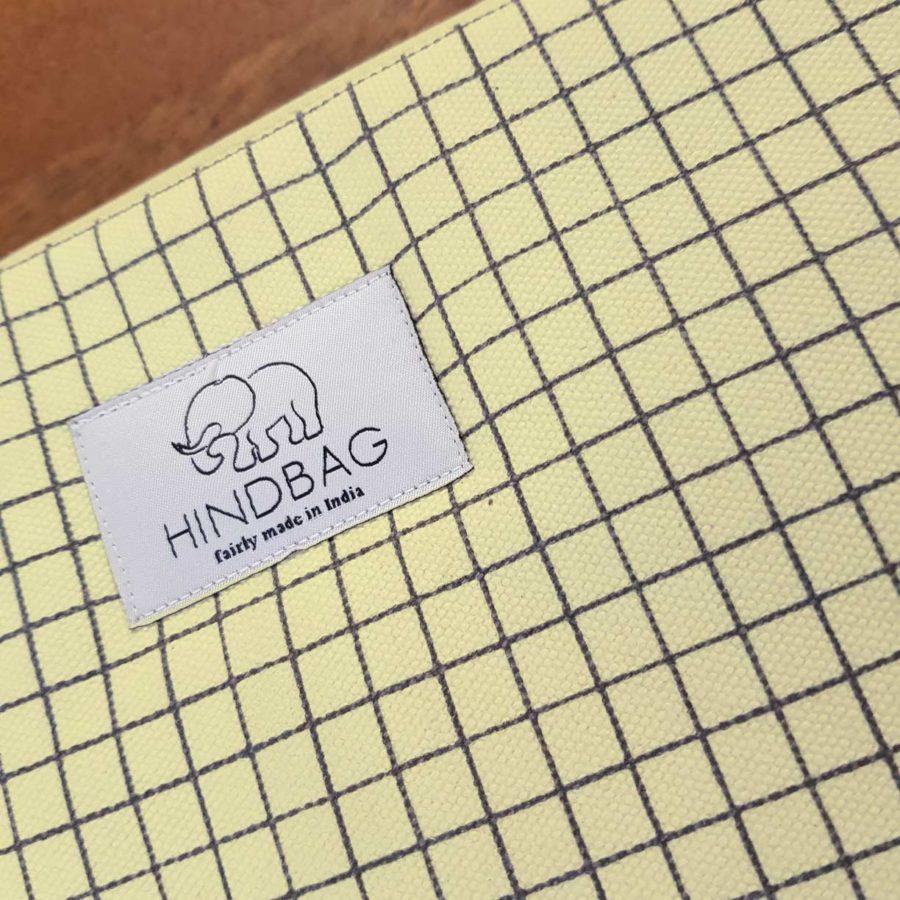 housse d'ordinateur jaune pastel à carreaux hinbag