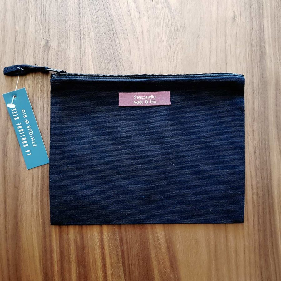 pochette noire en coton recyclé steez
