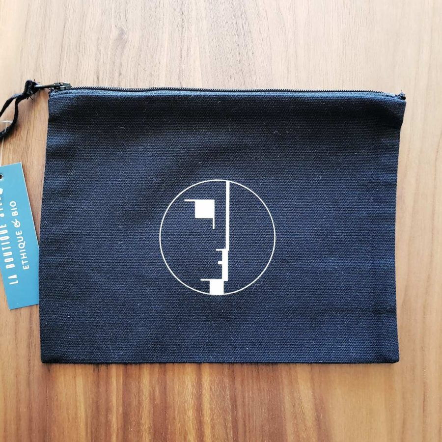 pochette noir coton recyclé BAUHAUS