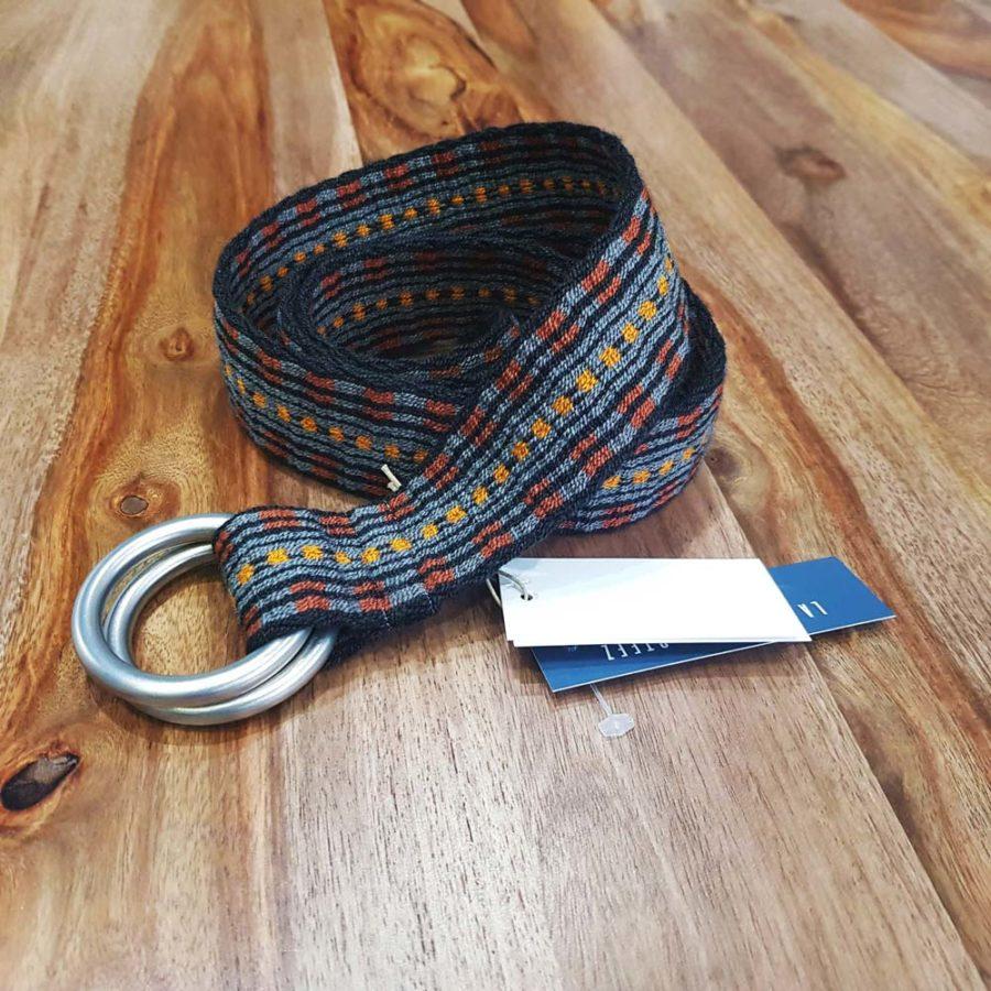 ceinture tissée main Wayuu ocre et gris