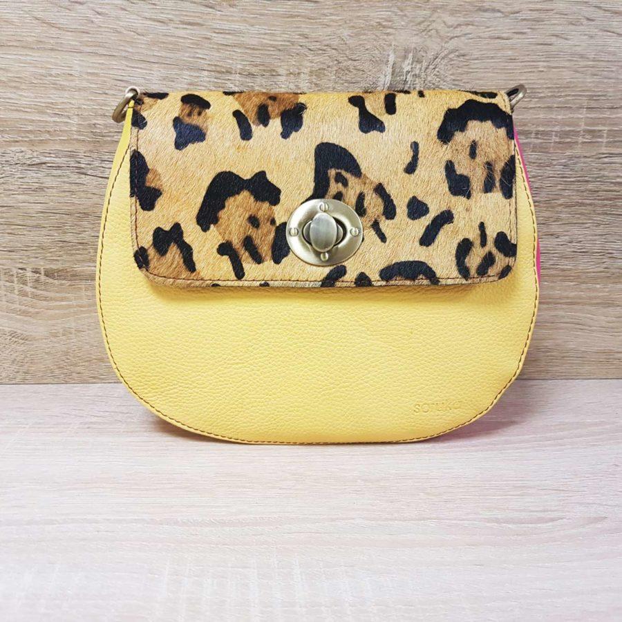 sac jaune pâle léopard soruka cuir recyclé