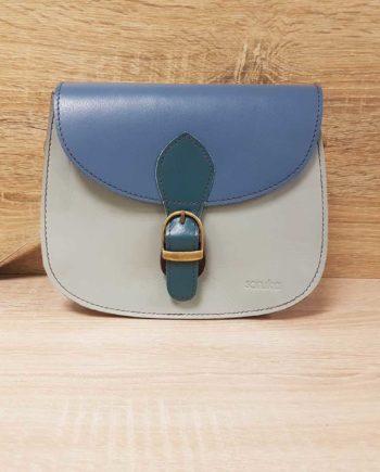 petit sac bleu gris soruka cuir recyclé