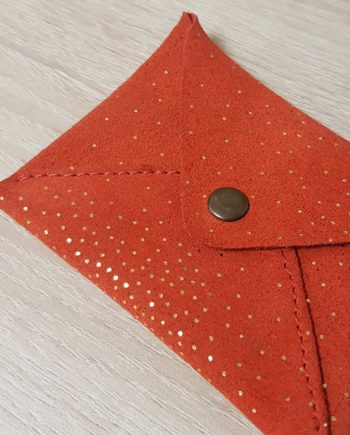 Porte monnaies orange et or en cuir nubuck recyclé Soruka