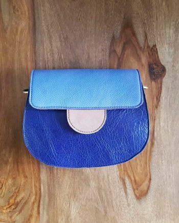 sac bleu cuir recyclé Soruka