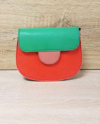 sac rouge et vert cuir recyclé Soruka