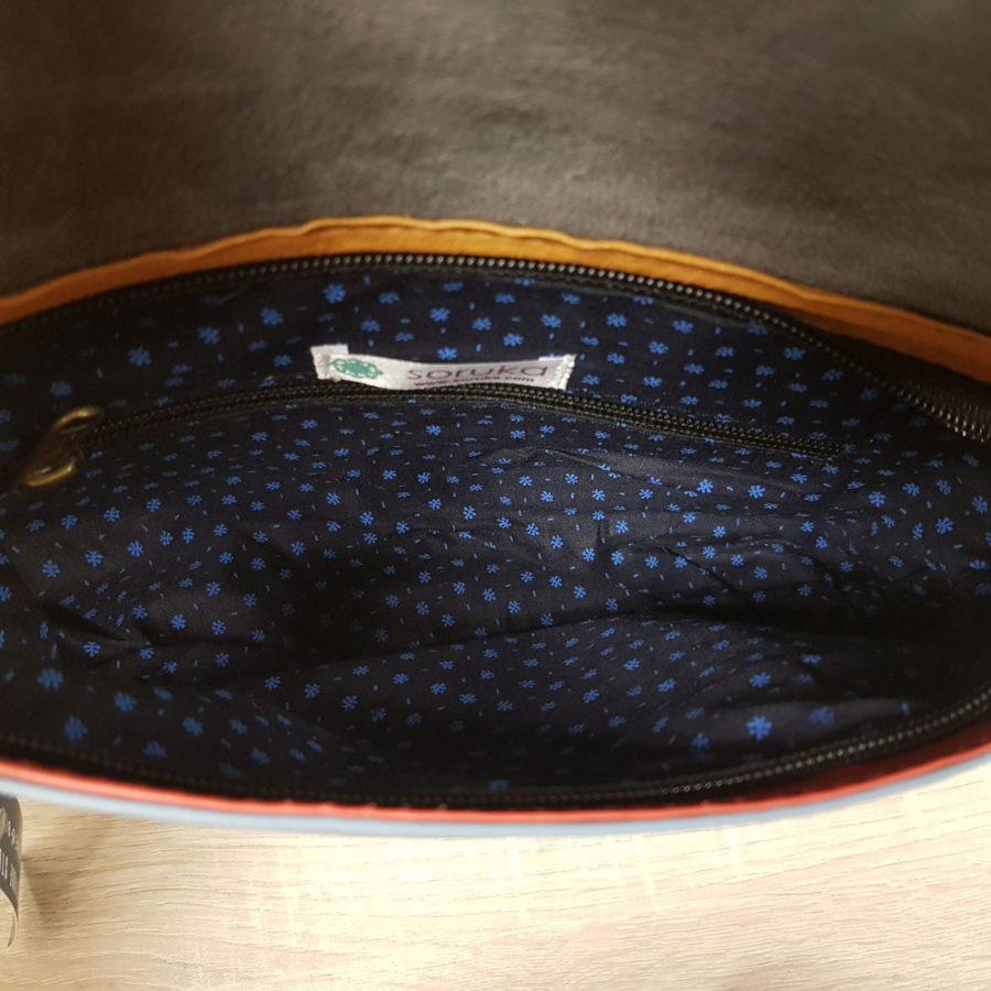sac sacoche en cuir recyclé rouge et bleu Saruka