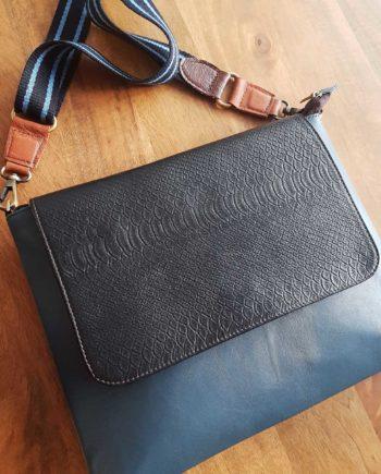sac cuir gris bleu et noir reptile soruka