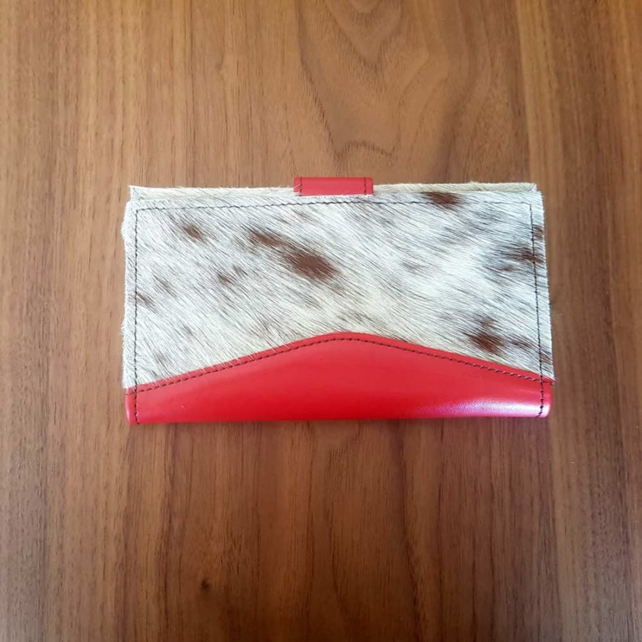 portefeuille rouge et peau vache cuir recyclé soruka