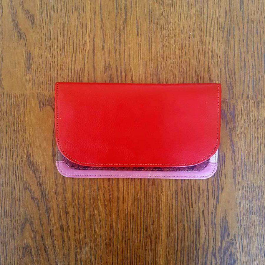portefeuille rouge cuir recyclé soruka