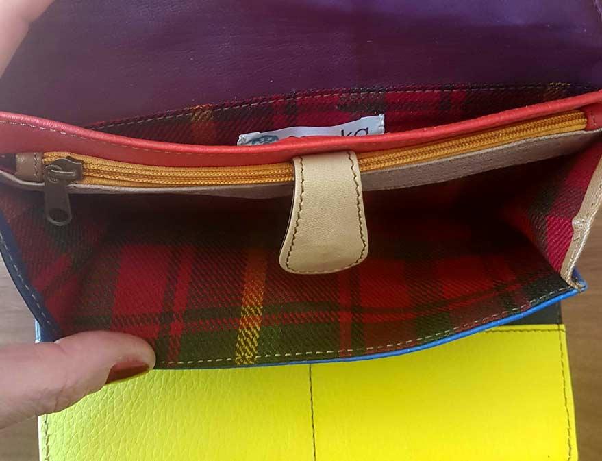 Portefeuille sac à chaine orange et zèbre soruka