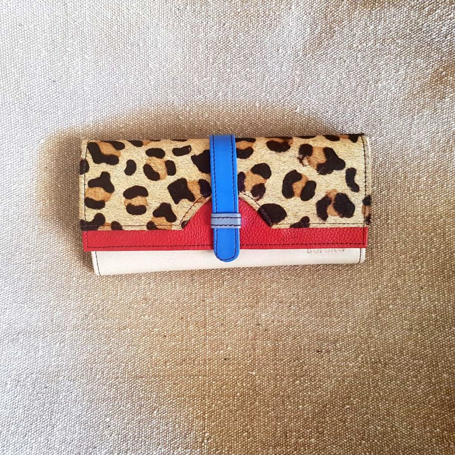 portefeuille compagnon léopard rouge et bleu Soruka