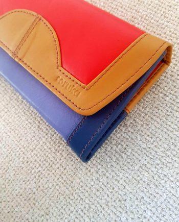 portefeuille compagnon rouge et bleu cuir recyclé