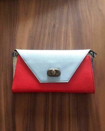 sac à chainette portefeuille en cuir recyclé rouge