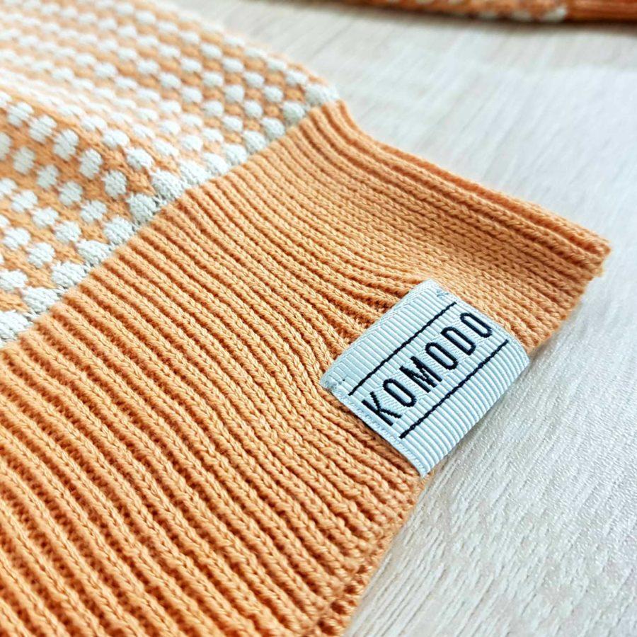 pull blanc et orange abricot coton bio