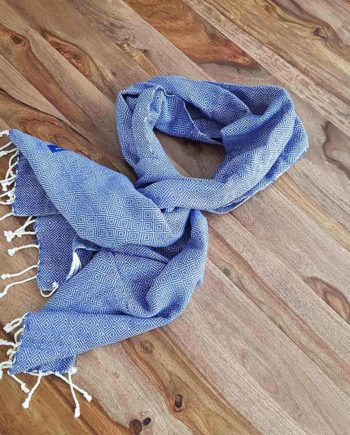 petit krama chaud bleu indigo coton épais