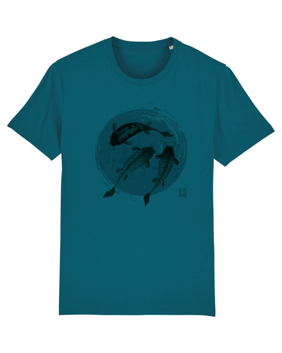 tee shirt poisson japonais bleu canard coton bio steez