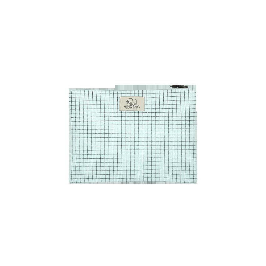 petite pochette bleu pastel carreaux hindbag