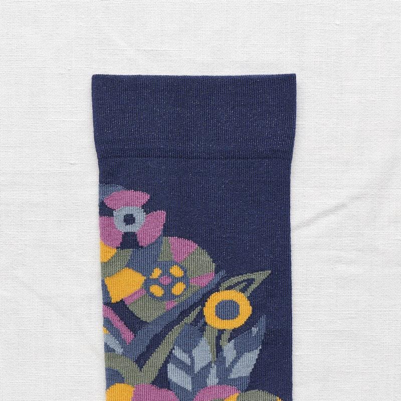 chaussettes bonne maison fleur bleue