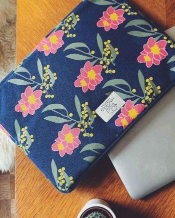 housse d'ordinateur bleu à fleur hinbag