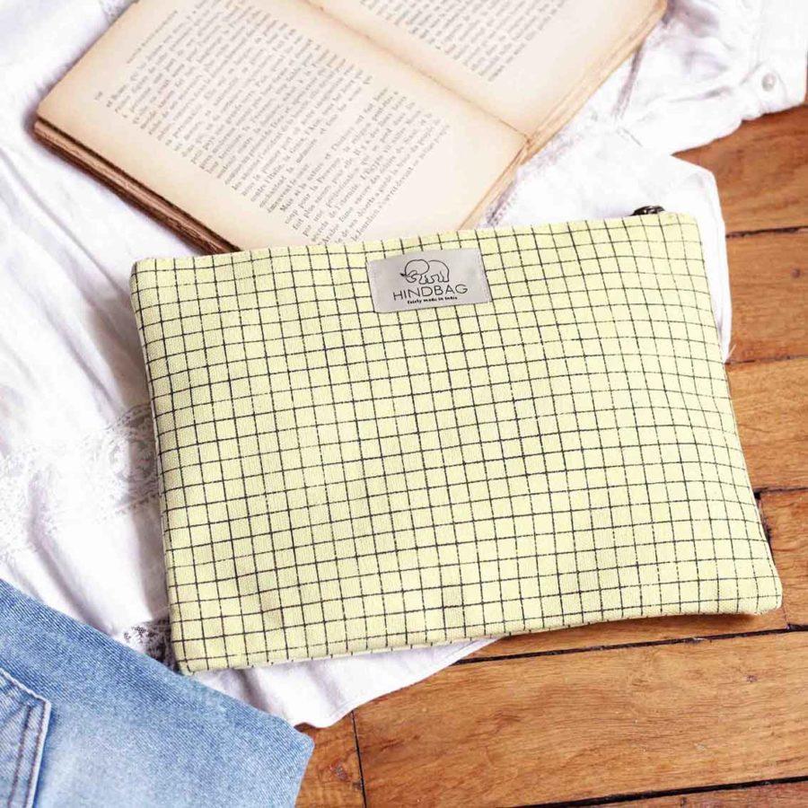 petite pochette jaune pastel carreaux hindbag