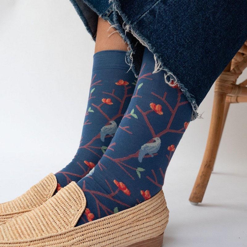 chaussettes bonne maison oiseaux denim