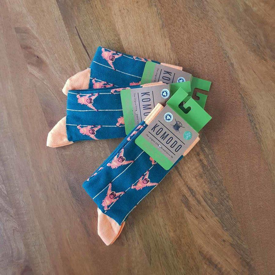chaussettes komodo singes verts