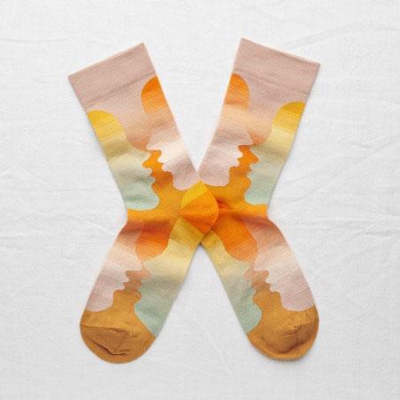 chaussettes bonne maison visages multicolors