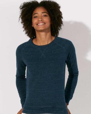 sweat shirt femme coton bio bleu foncé chiné Steez