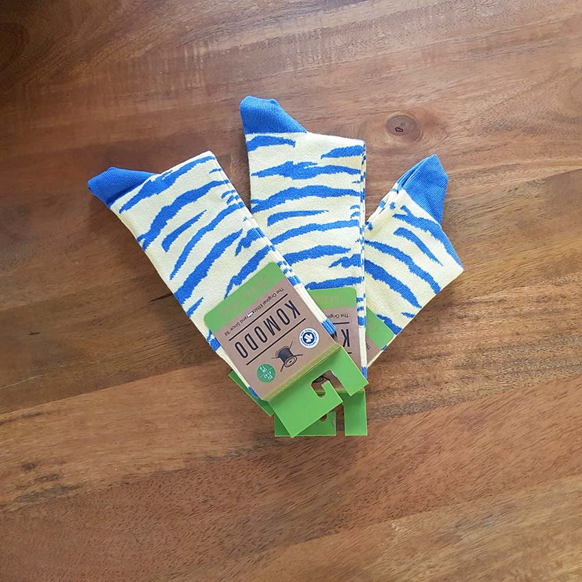 chaussettes komodo zèbre bleu