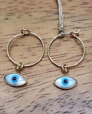 créoles plaqué or avec oeil nacre