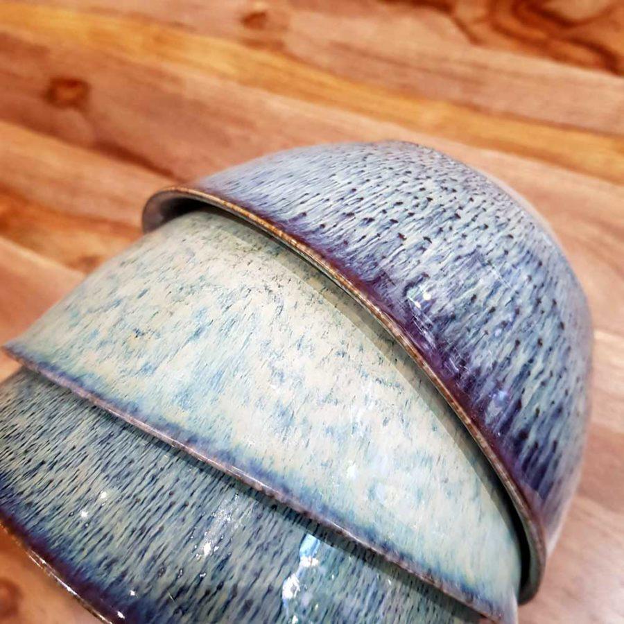 bol en céramique et émail bleu fait main