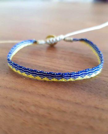 Bracelet tissé à la main Wayuu jaune et bleu