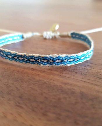 Bracelet tissé à la main Wayuu bleu