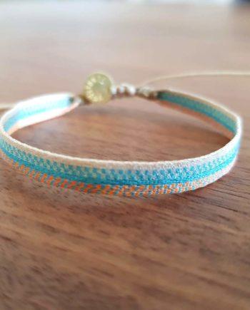 Bracelet tissé à la main Wayuu bleu et orange