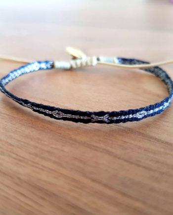 Bracelet tissé à la main Wayuu noir et argent