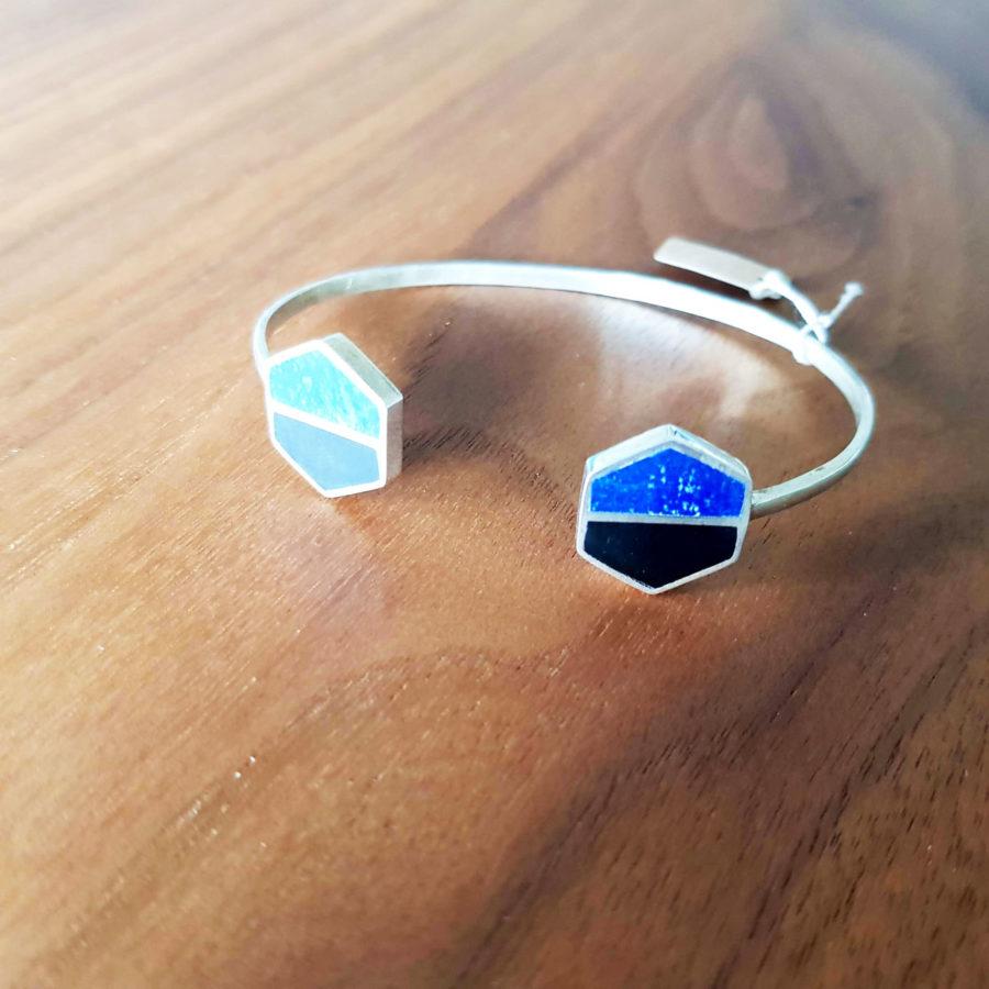 Bracelet jonc argent lapiz lazuli agate