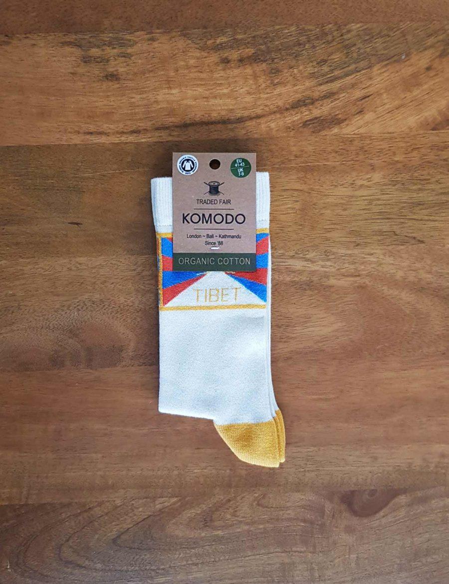 chaussettes KOMODO blanche et jaune TIBET