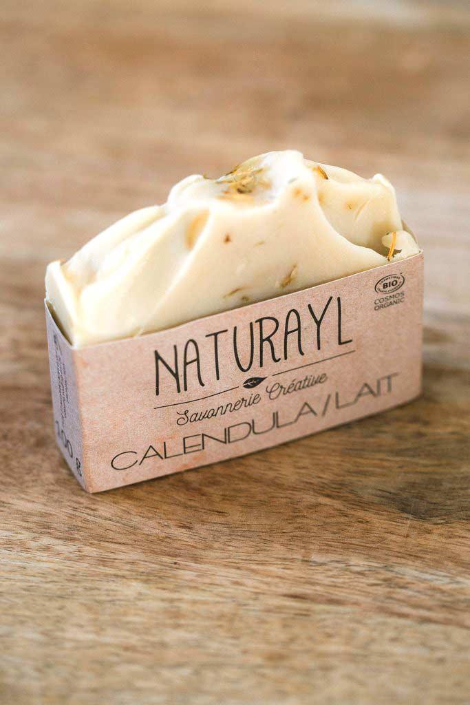 savon bio artisanal à froid calendula et lait