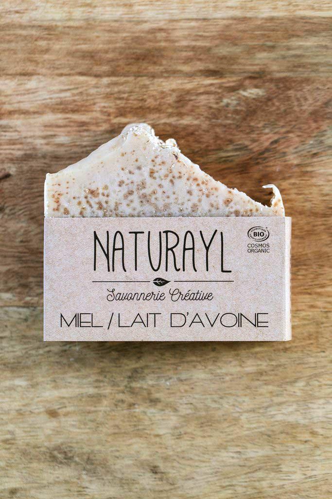 savon bio artisanal à froid miel lait d'avoine