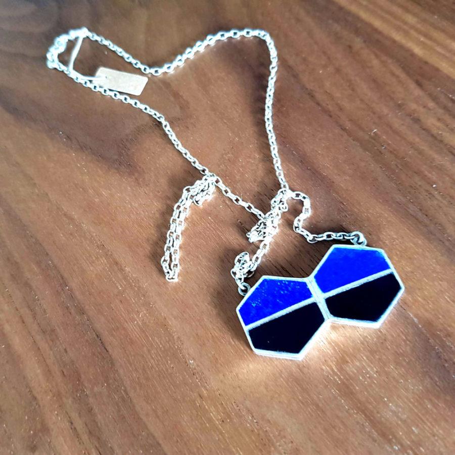 Pendentif chaine en argent lapiz lazuli agate