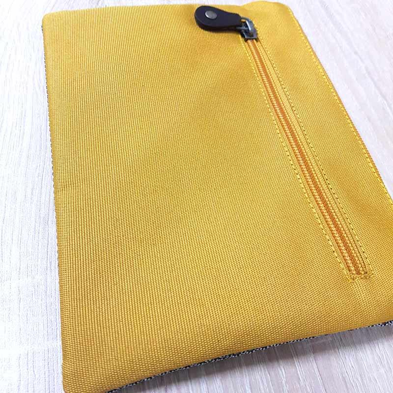 POchette polyester recyclé gris et jaune
