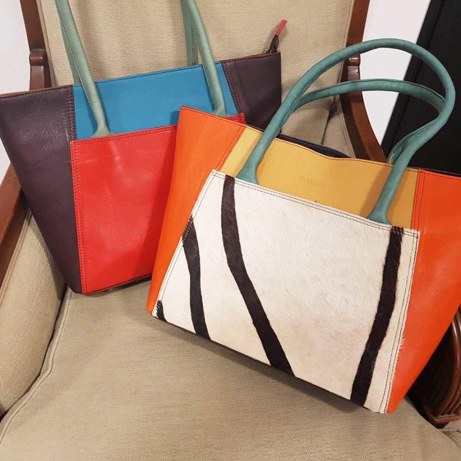 Grand sac à anses en cuir recyclé