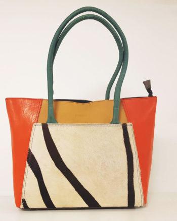 sac à main soruka cuir recyclé orange zébré