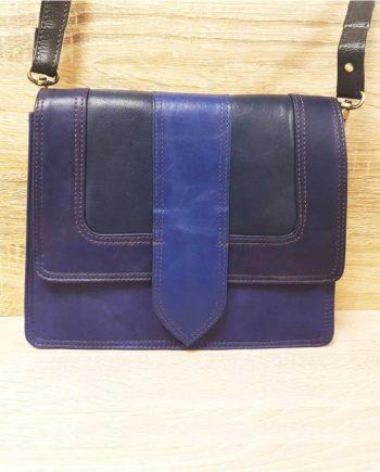 sac bleu soruka cuir recyclé