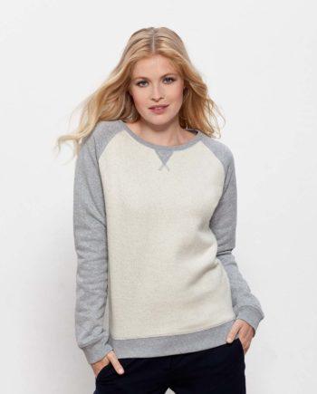 sweat shirt femme coton bio gris et blanc Steez