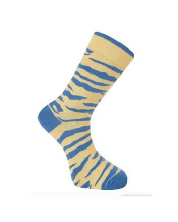 chaussettes komodo zébré jaune et bleu